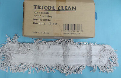 "Case of Tricol Clean Disposable 36"" DUST MOP REFILLS #38494 Set of 12 NEW NIB"