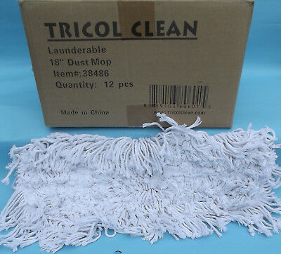"""Case of Tricol Clean Launderable 18"""" DUST MOP REFILL #38486 Set of 12 NEW NIB"""