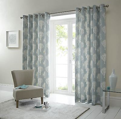 Forest Trees Duck Egg Blue White 90X90 Anneau Top Lined Curtains #seertdoow Cur