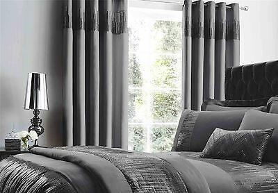 "Banded Stitched Sequins Faux Silk Pewter 66""x72""-168X183Cm Anneau Top Curtains"