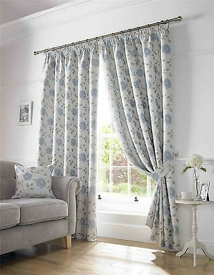 "Trailing Floral Duck Egg Blue 90X90"" 229X229Cm Lined Pencil Pleat Curtains"