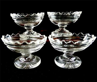 Set Of Four Antique Cut Glass Salt Cellars Georgian Regency Style