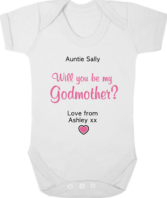 PERSONALISED Will You Be My GODMOTHER? New Baby Bodysuit/Grow/Vest, Christening