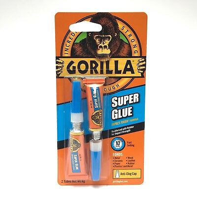 Gorilla Super Glue Twin Pack Fast Setting & Incredibly Strong 2 x 3g Tubes