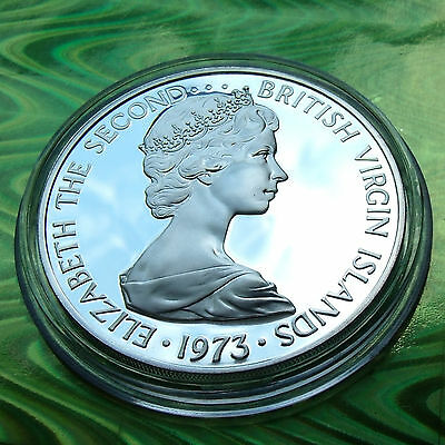 PROOF SILVER DOLLAR,  1973 BRITISH VIRGIN ISLANDS, Elizabeth II, Holder included