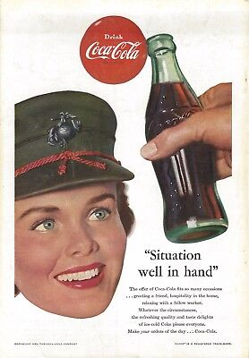 1953 - Coke Coca Cola Ad - Lady Marines - National Geographic Back Cover ONLY