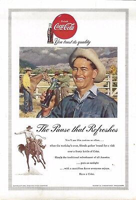 1953 - Coke Coca Cola Ad - Cowboys - National Geographic Back Cover ONLY