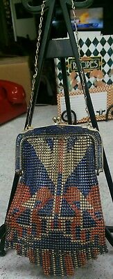 Vintage Whiting and Davis Enameled Metal Mesh Art Deco Flapper Purse 1920's