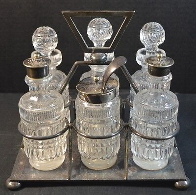 Antique W. S. Savage & Co. English Silverplate and Cut Crystal Set