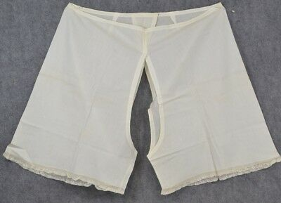 bloomers pantalets cotton lace split drawers large  Civil War Era antique 1800