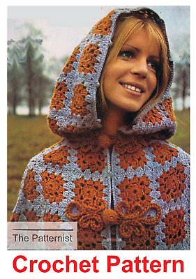 Vintage Crochet Pattern for Granny Square Hooded Cape for Women and Children