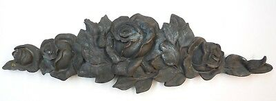 "16"" Antique French Bronze Architectural Plaque Home Garden Decor Roses Flowers"
