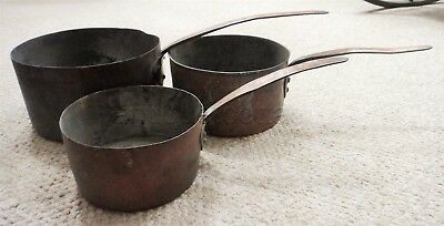 LOT antique EARLY 3pc HANDWROUGHT COPPER PANS heavyweight TIN LINED heart aafa