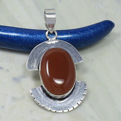 "1 5/8"" Handmade Pendant ! 925 Sterling Silver Plated Natural CARNELIAN Gemstone"