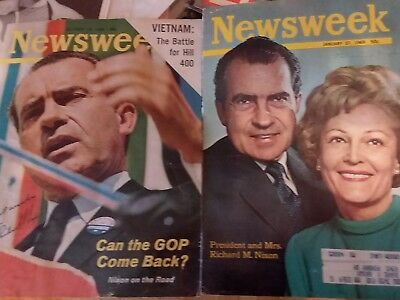 Richard and Pat Nixon Autographed Newsweek Covers