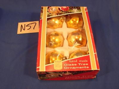 N57 Vintage Lot Of 6 Glass Decorated Christmas Tree Ornaments In Original Box