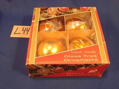 L44 Vintage Lot Of 4 Glass Decorated Christmas Tree Ornaments In Original Box