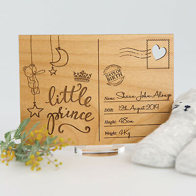 Engraved Wooden Baby Announcement Postcard with Stand, cute, personal, gift, fun