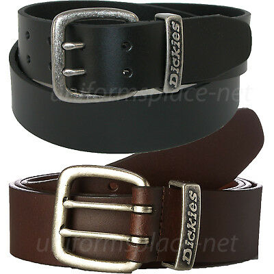 """Dickies Leather Belt Mens 1 3/8"""" Leather Belt with Double Prong Buckle"""