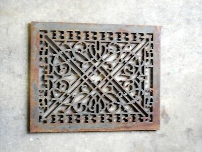 Antique Vtg Cast Iron Ornate Furnace Cold Air Return Floor  Grate