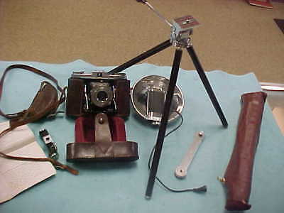 Vintage Zeiss Ikon  Ikonta 2 1/4 X 2 1/4 CAMERA WITH FLASH AND TRIPOD