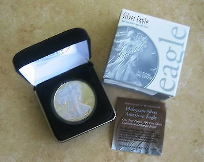 2013 Silver Eagle Hologram Enhanced 2 Sides With Case, Capsule, Coa & Outer Box