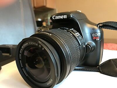 Canon EOS Rebel T3 12.2MP Digital SLR Camera - Black w/ lens covers and charger