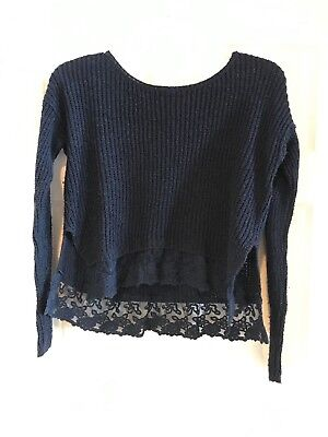Girls Abercrombie Navy Blue Cropped Sweater with Lace Trim, Size L