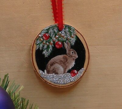 Hand Painted Wood Slice Ornament Rabbit Glitter Snow Cabin Christmas Decor 21