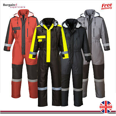 Portwest Hi Vis Winter Coverall Overall Waterproof Insulated Boiler Suit S585