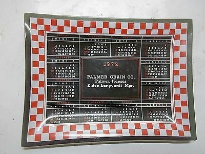 1972 Advertising Glass Tray Palmer Kansas Grain