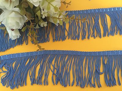 BLUE LOOPED 7cm (w) FRINGING/TASSEL~CURTAIN~SEWING~CRAFTS~COSTUMES~LAMPSHADE