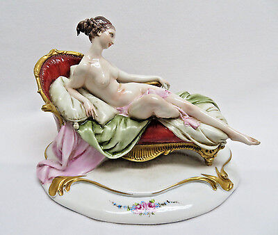 Vintage Giuseppe Cappe Capodimonte Italy Nude Reclining Female on Couch Figurine