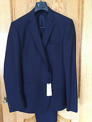 NWT VERSACE COLLECTION 2 Button Wool/Silk Suit Sz 44/54R Navy Flat Front Pant