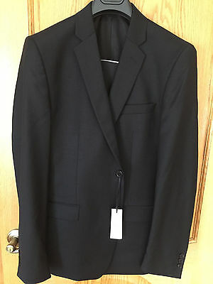 NWT VERSACE COLLECTION 2 Button 100% Wool Suit Sz 44/54R  Black Flat Front Pant