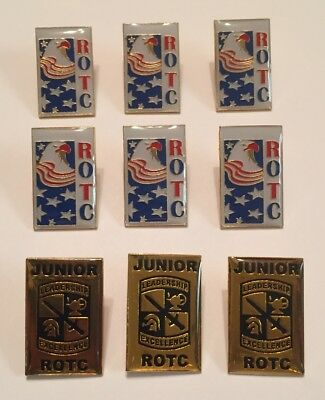 LAPEL PIN LOT of 9 ROTC & JUNIOR ROTC Reserve Officers Training Corps Pins