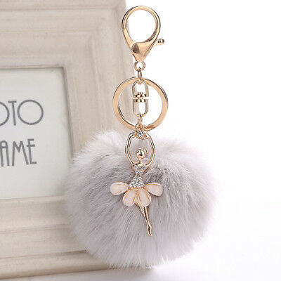 Angel Ballet Dancing Girl Fluffy Keychain Faux Rabbit Fur Car Pendant  Keyring
