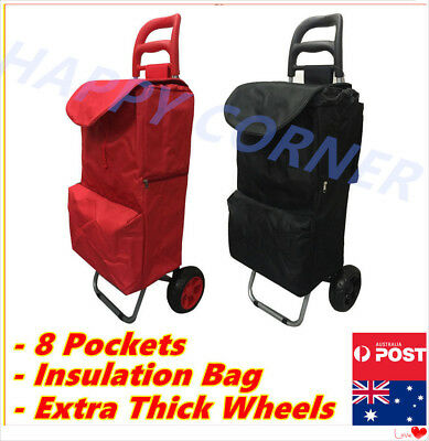 8 Pockets Shopping Market Trolley Foldable Luggage Cart Bag Basket Wheels NEW