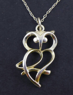 Modernist Sterling Silver Open Owl Pendant Link Chain Necklace