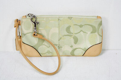 Coach Olive Signature CANVAS LEATHER Wristlet Handbag