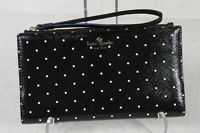 Kate Spade New York Black White Round Dot Bifold Wristlet Wallet