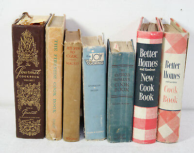 Lot Of 7 Vintage Cookbooks 1930'S To 1950'S  Better Homes, Joy Of Cooking, Etc.