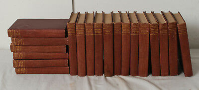 Lot Of 19 Antique Decorative Red Spine Gold Lettering Charles Dickens Collection