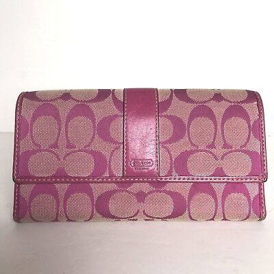 COACH Pink Canvas Signature Tri Fold Checkbook Credit Card Holder Wallet