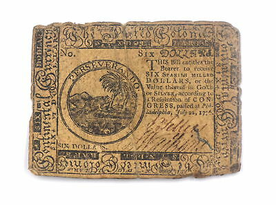 Rare Continental Currency July 22,1776 Philadelphia Six Dollars Hall And Sellers