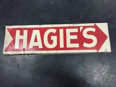 Hagies Tin Metal Double Sided Sign Seed Old Antique