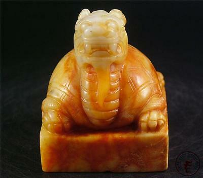 Old Chinese Nephrite Celadon Jade Statue Chop Seal POWERFUL TURTLE DRAGON