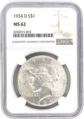 1934-D $1 Peace Silver Dollar Ngc Graded Ms62 Us Collectible 90% Coin