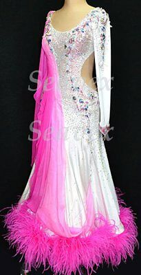 U6250 Feather fur Women Ballroom Tango Quickstep Waltz Dance Dress Custom made