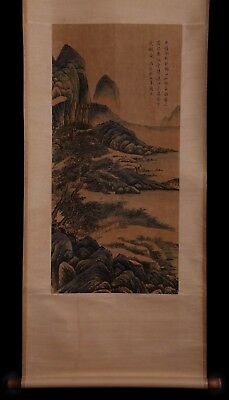 Exquisite Rare Old Chinese Scroll Landscape Hand Painting Marked Chou Zhen KK689